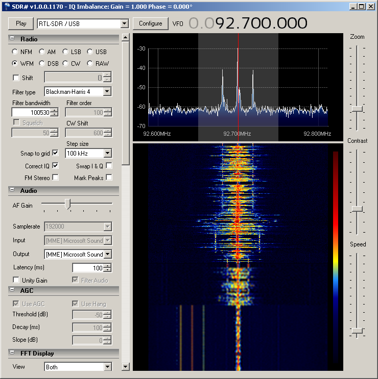 Radio 4 FM spectrum using SDR# with stereo pilot tone clearly visible