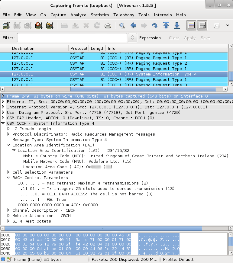 GSM BCCH decoded using wireshark